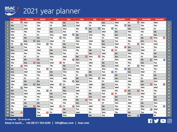 Thumbnail photo for Started planning for 2021? BSAC's year planner is now available to download!