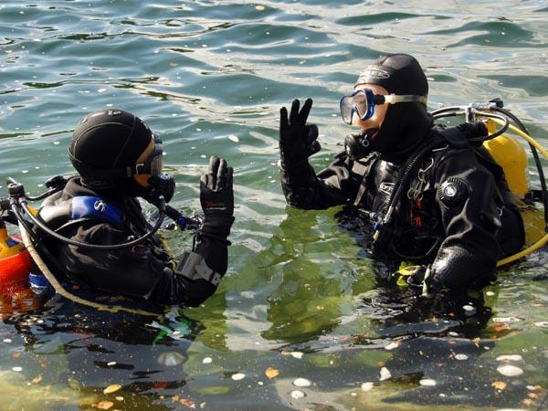 Instructor with students in open water training