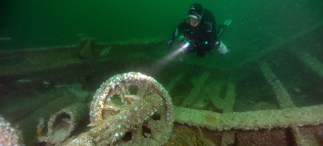 A diver on a wreck in Normandy