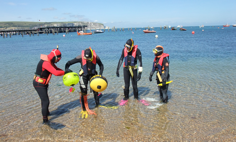 Snorkellers taking the Advanced Snorkel Instructor Exam in Swanage