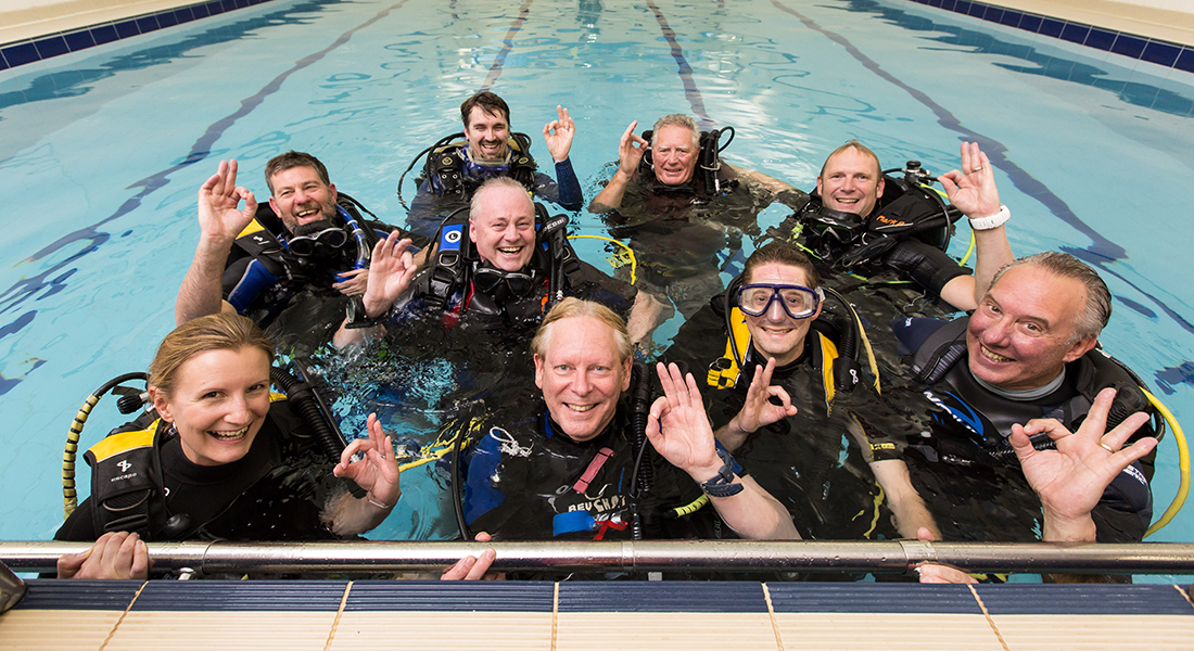 Members of Bath SAC in the pool during their 60th anniversary celebrations