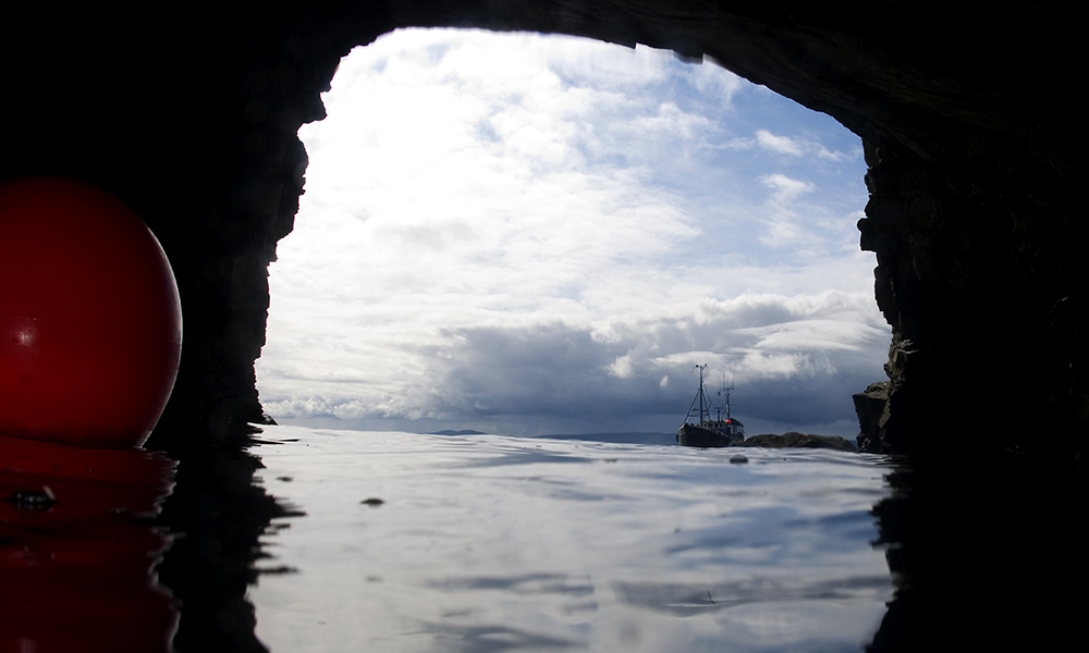 View from within a diving cave in Shetland