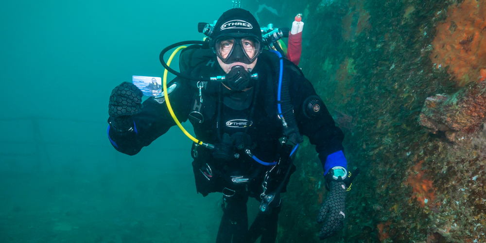 Image of first BSAC member to take up the O'Three drysuit and BSAC membership offer