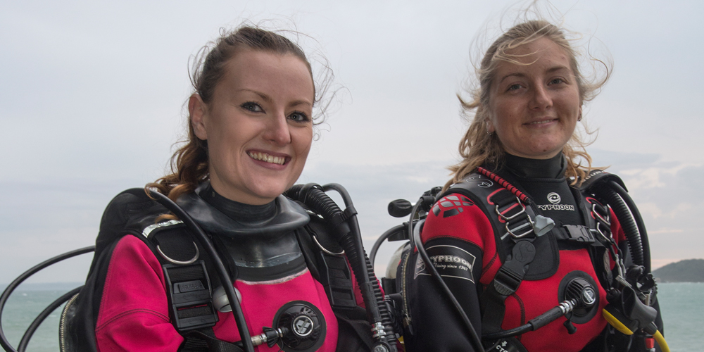 Jane Morgan - Pair - Buddies in kit ready to go diving