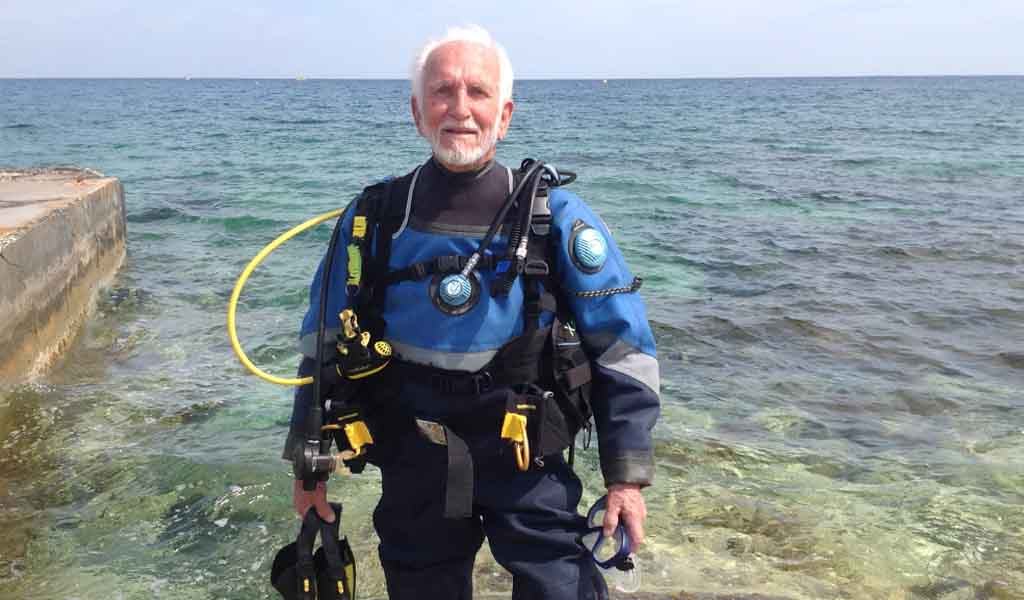 Ray Woolley ready to go diving