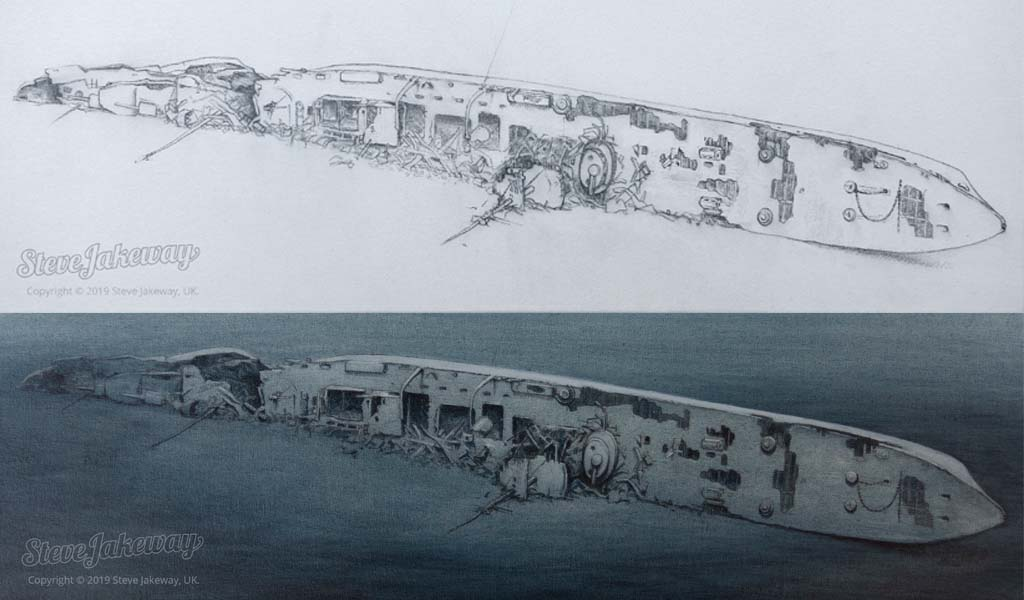 SMS Cöln - sketch and painting by Steve Jakeway