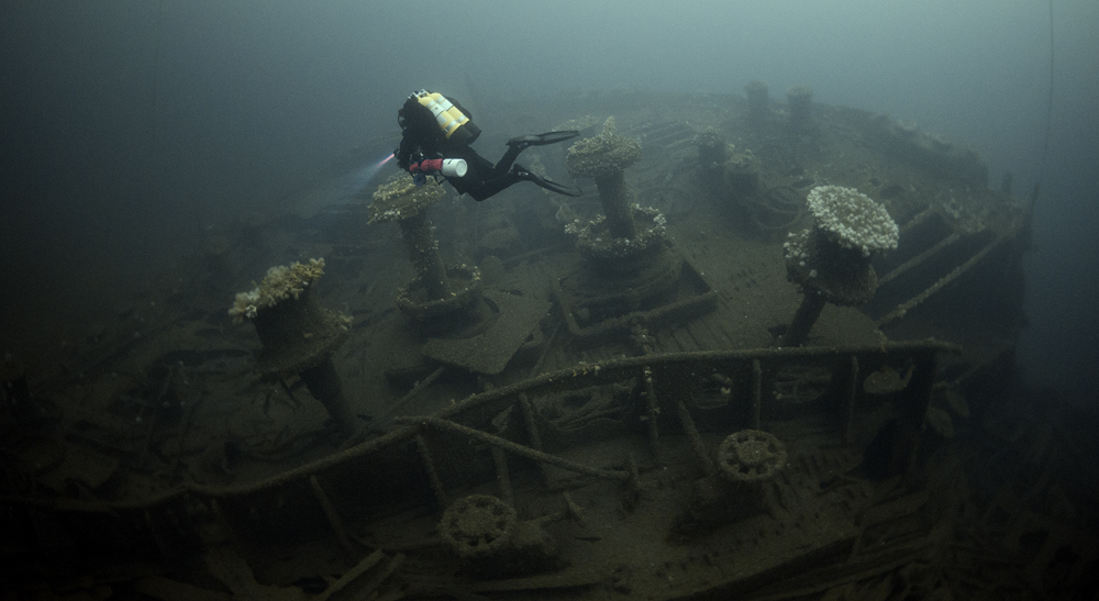 RMS Justicia: White Star liner of some 33,000 tons sunk in WW1. Now lies at 72 metres depth